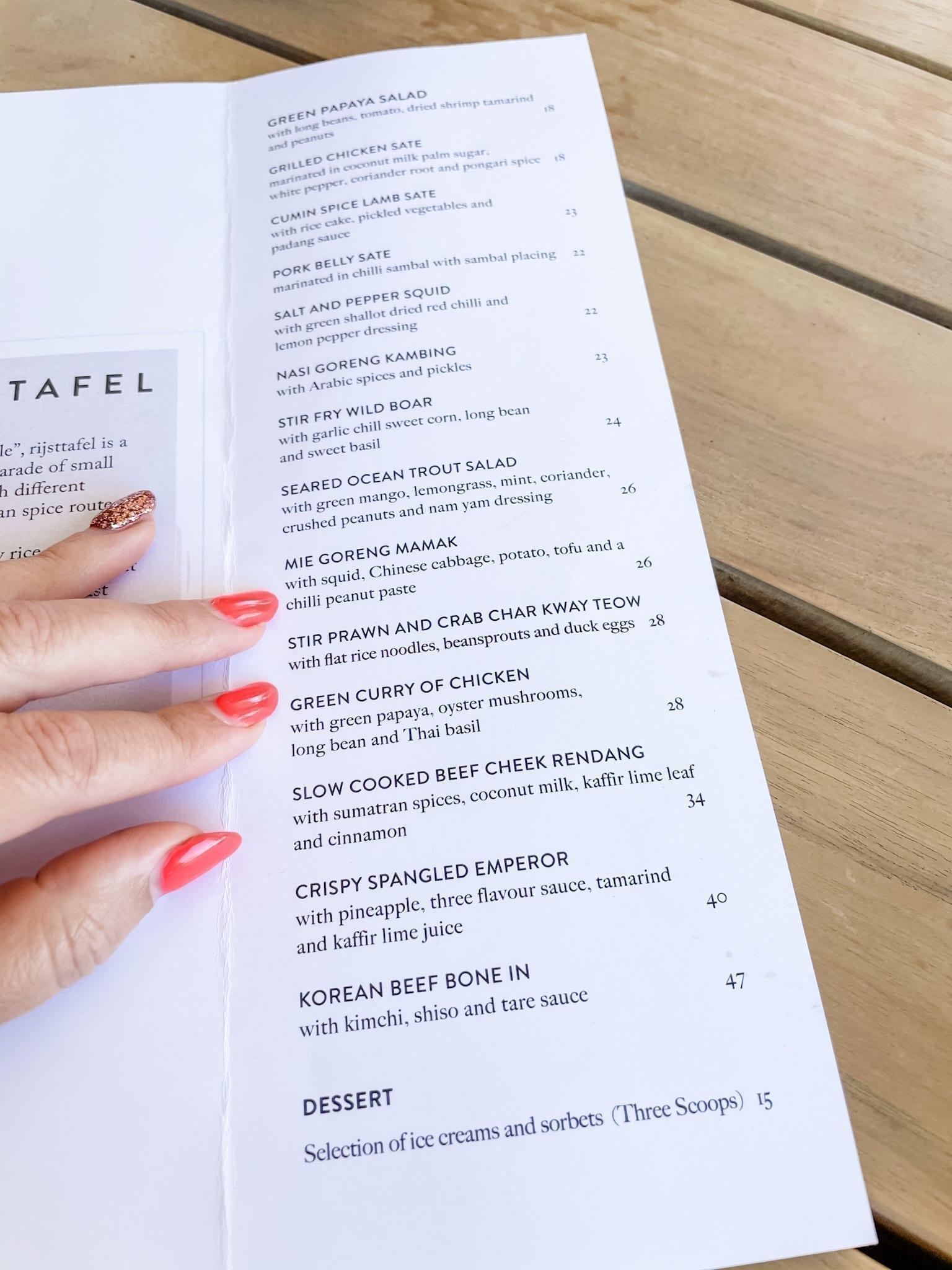 Lontara Rottnest menu